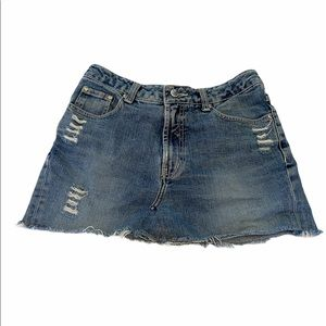 ONGGOL Jeans Distressed Raw Edge Denim Skirt 29